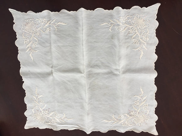 Antique Pure Silk Handkerchief (8554)