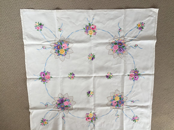 Antique Embroidered Linen Tablecloth (8556)