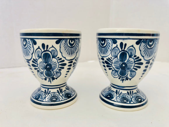 Delft Holland Hand Painted Egg Cups x 2 (8754)