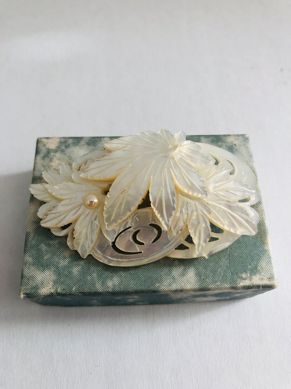 Vintage Hand Carved Mother-of-Pearl with a Pearl Brooch (8790)