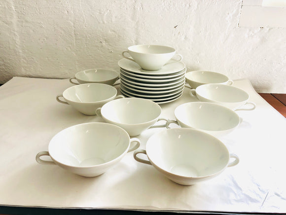 Antique Double-Handled Cups & Saucers x 9 (9022)