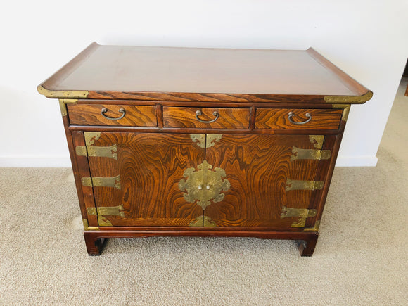 Antique TIGER OAK Cabinet with Brass Detail (9011)