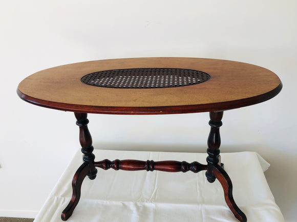 Antique Small Oval Oak Coffee Table with Rattan Centre (9012)