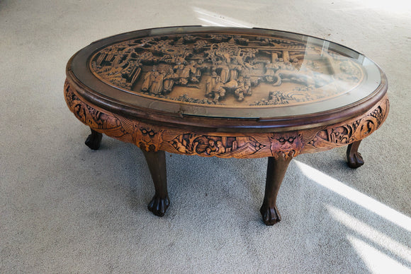 Large Oval Chinese Carved Coffee Table (9014)