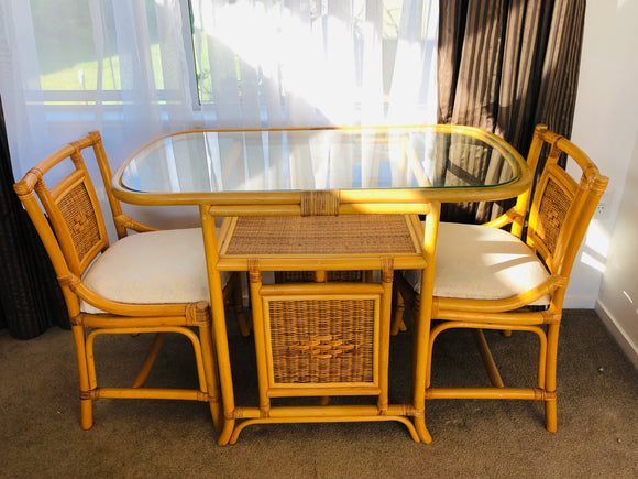 Small Cane &Rattan Dining Table & Two Chairs (9015)
