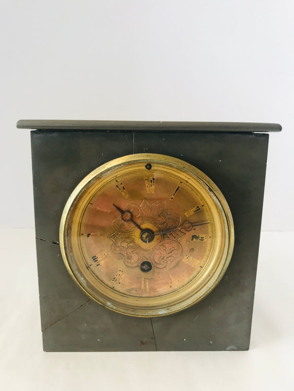 Antique Brass & Marble Mantle Clock (8688)