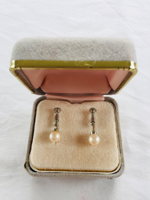 Vintage Yoneda Pearl Screw Earrings (ref: 6187)