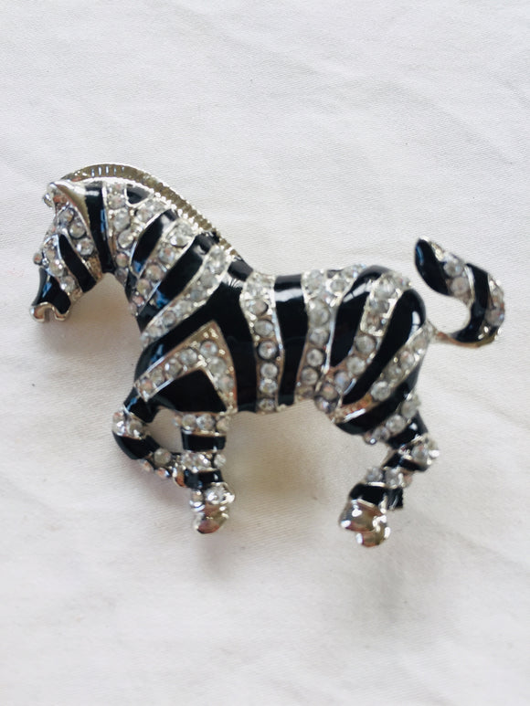 Diamante Zebra Brooch (ref: 6213)