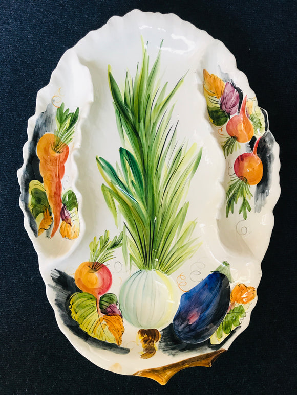Very large Italian Platter with Hand Painted Vegetables (ref: 6320)