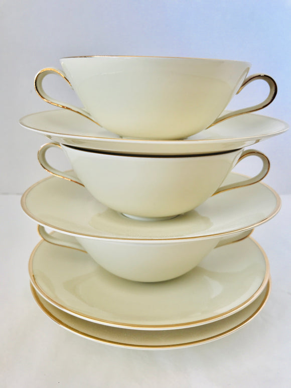 Antique Double-Handled Cups & *Saucers x 3 (9021)