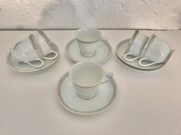 c.1948 Noritake - Set of 6 Demitasse Cups and Saucers (ref: 6715)