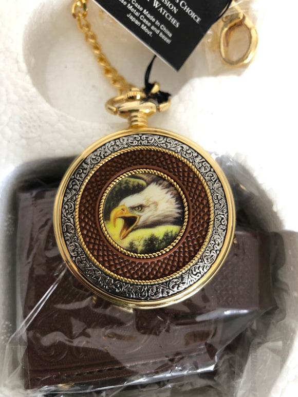 NEW: Patriotic Bald Eagle Precision Pocket Watch & Case (ref: 6116)