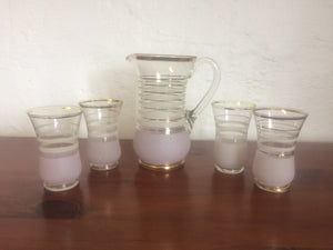 4 x Art Deco Glass Jug & Tumblers (ref: 5025)