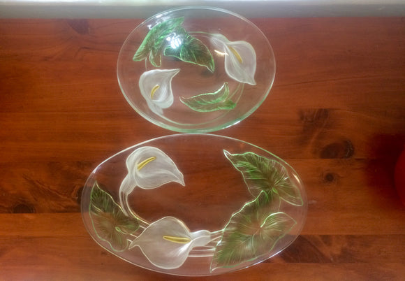 Stunning Glass Peace Lily Oval Bowl & Oval Platter (ref: 5029)