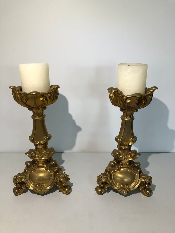 2 x Large Gold Candlestick Holders (ref: 6418)