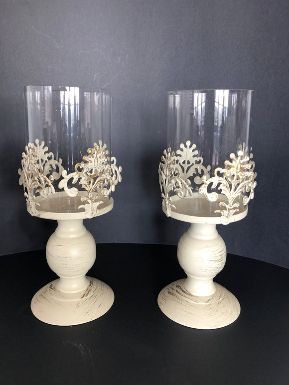 2 x French Country Candle Holders (ref: 6533)