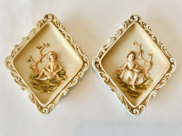 2 x Vintage Lefton China Wall Plaques (7291a)