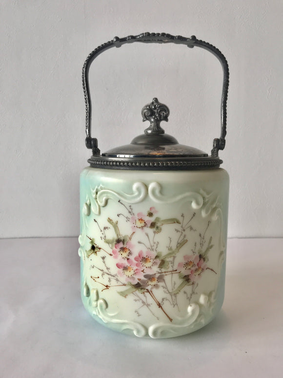 Blue/White/Gold China Jar with Lid
