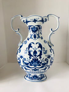 Vintage Blue & White China Vase (7361)