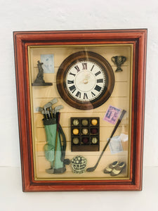 Lovely Golfer's Shadow Box Clock (7455)