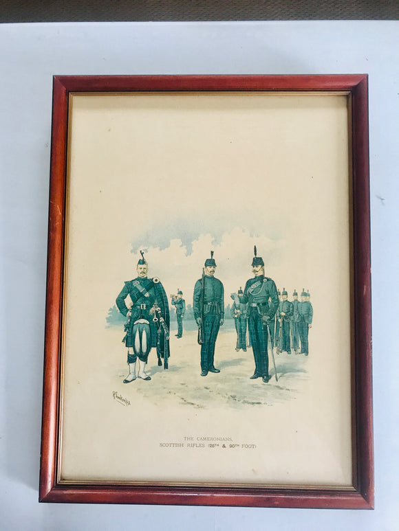 Antique Print: The Cameronians Scottish Rifles (7478)