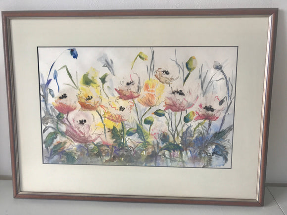 Poppies in Pastels & Ink (7485)