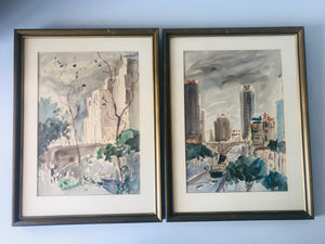 2 x Original Vintage Watercolours (7488)