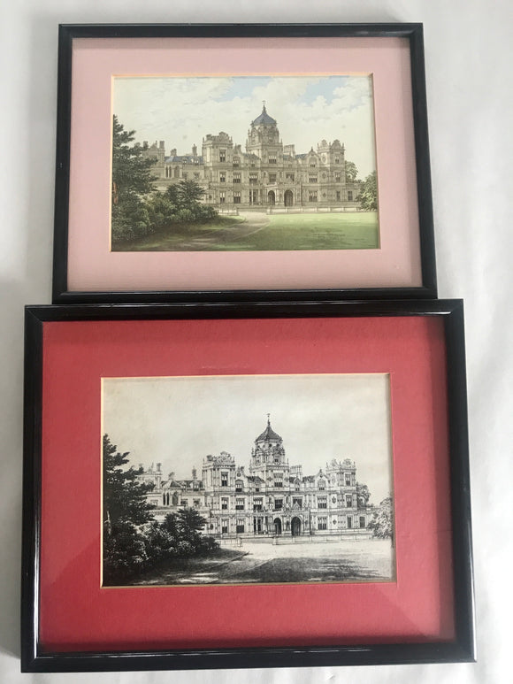 2 x Antique Hand Drawn Castle Prints (7499)