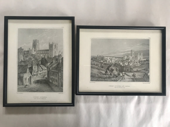2 x Antique Prints Durham Castle/Cathedral (7504)
