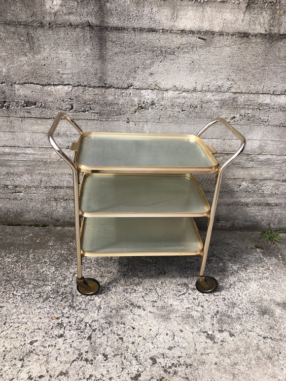 Retro Brass Tea Trolley on Wheels - 3 Tier (Ref: 7320)