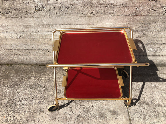 Retro Brass Tea Trolley - 2 Tier (Ref: 7321)