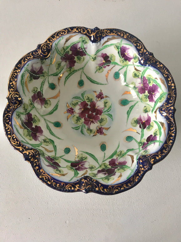 Stunning Antique Hand Painted Bowl (7557)