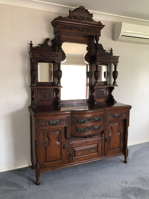 c.1890 English Oak Mirror Back Sideboard (7470)