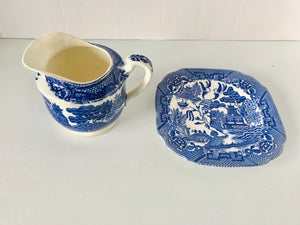 Antique Blue Willow Creamer/Plate (7591)