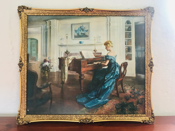 ''Moment Musicale' Print in Ornate Gold Frame (7602)