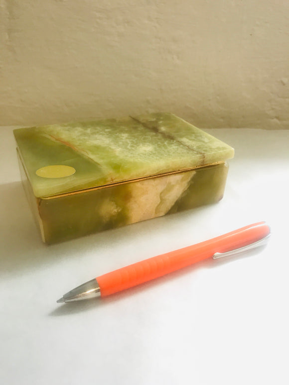 Vintage Italian Natural Green Onyx Jewellery Box (7607)
