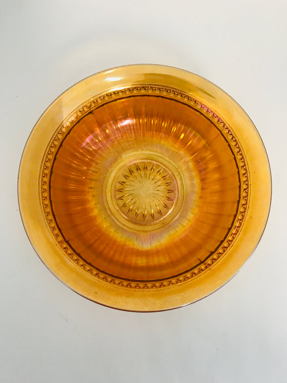 Art Deco Carnival Glass Bowl (7625)