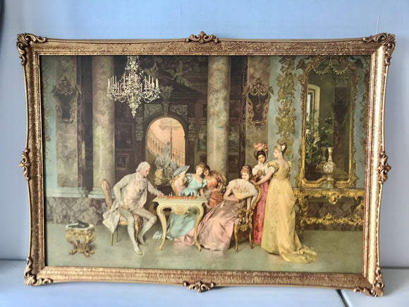 ''The Chess Game' F. Beda Print in Ornate Frame (7633)
