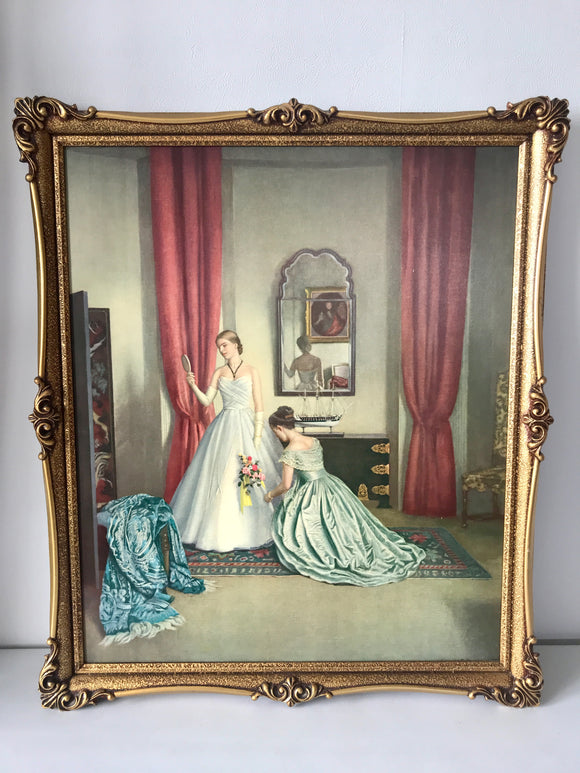 ''Her First Ball Dress' by Campbell Taylor Print in Ornate Frame (7634)