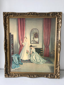 ''Her First Ball Dress' by Campbell Taylor Print in Heavily Ornate Frame (7635)