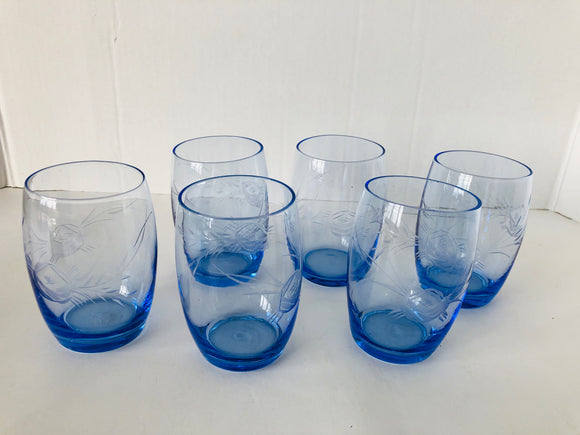 Six Blue Vintage Glasses (8039)