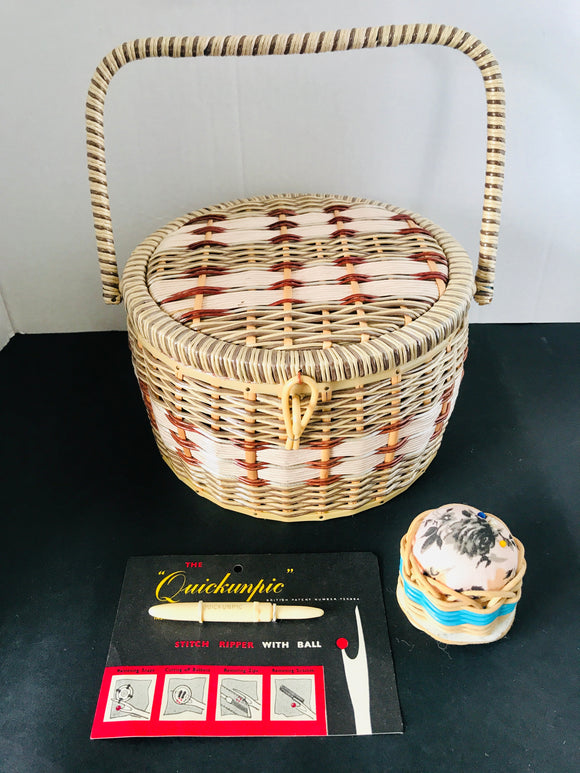 Retro Cane Sewing Basket (7765)