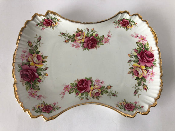 Old Foley Garland Rose Sandwich Plate (8078)