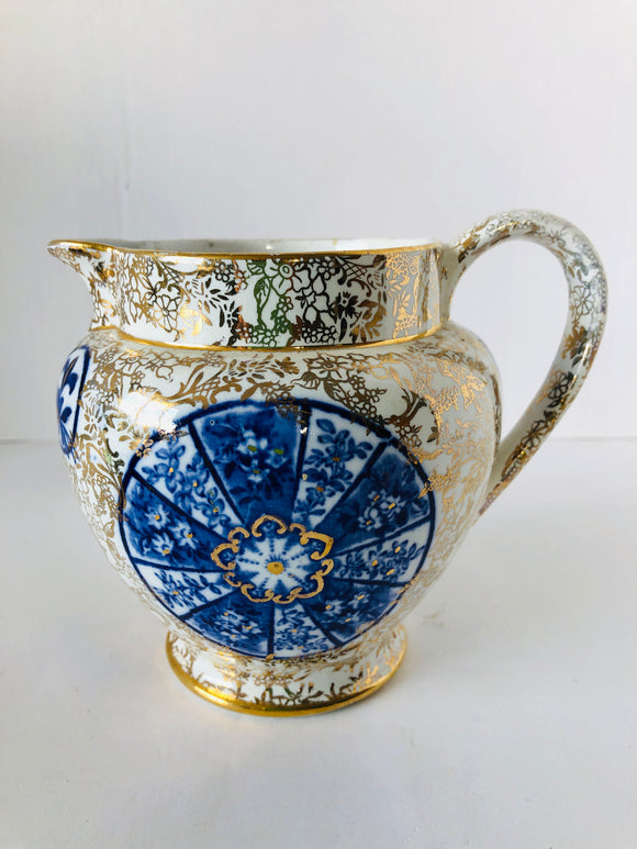 Blue and Gold Fenton Jug (8094)