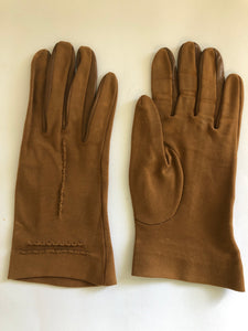Art Deco English Cotton Brown Gloves (8105)