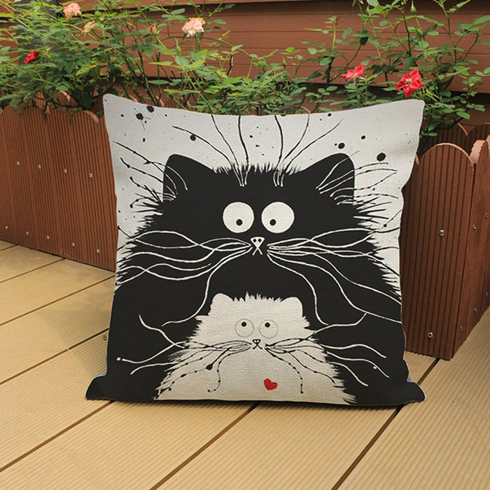 Cat Pillow Cartoon Images Linen Cotton Blend Cushion Cover Pillowcases