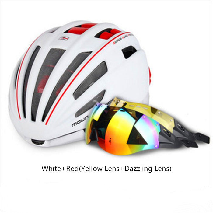Aerodynamic Cycling Helmet W/INtegrated Lens