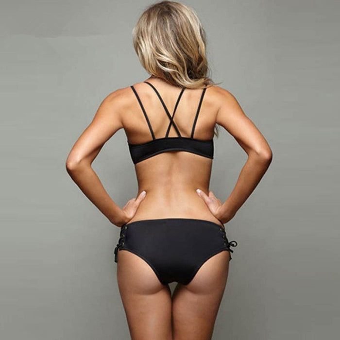 Black Retro Two-Piece Swimsuit - alikasa store