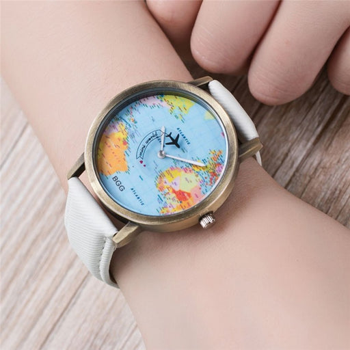 World Map Airplane Pattern Quartz Watch - alikasa store