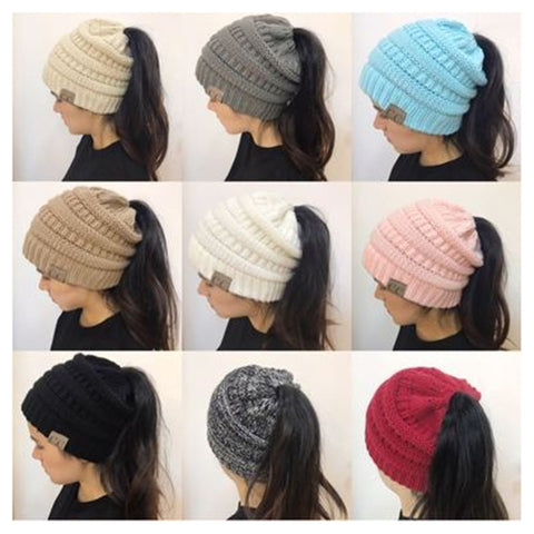 Knitted Ponytail Hat - alikasa store
